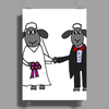 Awesome Funny Bride and Groom Sheep Wedding Cartoon Poster Print (Portrait)