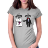 Awesome Funny Bride and Groom Sheep Wedding Cartoon Womens Fitted T-Shirt