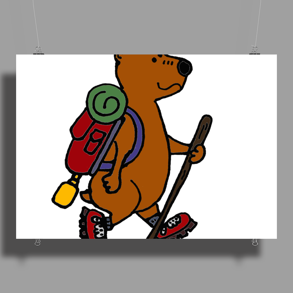 Awesome Funny Brown Bear Hiker Poster Print (Landscape)