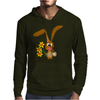 Awesome Funny Bunny Rabbit Holding Daffodil Flowers Mens Hoodie