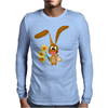 Awesome Funny Bunny Rabbit Holding Daffodil Flowers Mens Long Sleeve T-Shirt