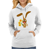 Awesome Funny Bunny Rabbit Holding Daffodil Flowers Womens Hoodie