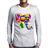 Awesome Funny Colorful Elephant in Sunglasses Art Mens Long Sleeve T-Shirt