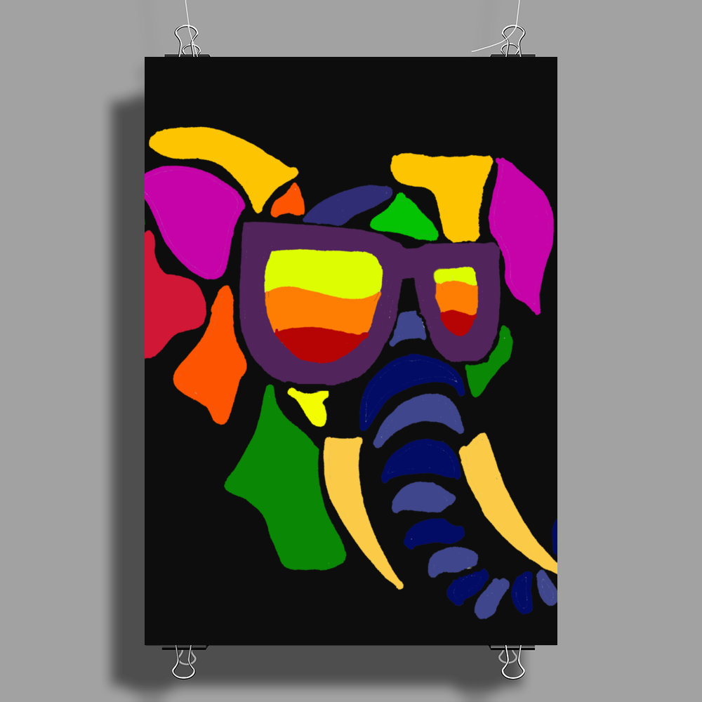 Awesome Funny Colorful Elephant in Sunglasses Art Poster Print (Portrait)