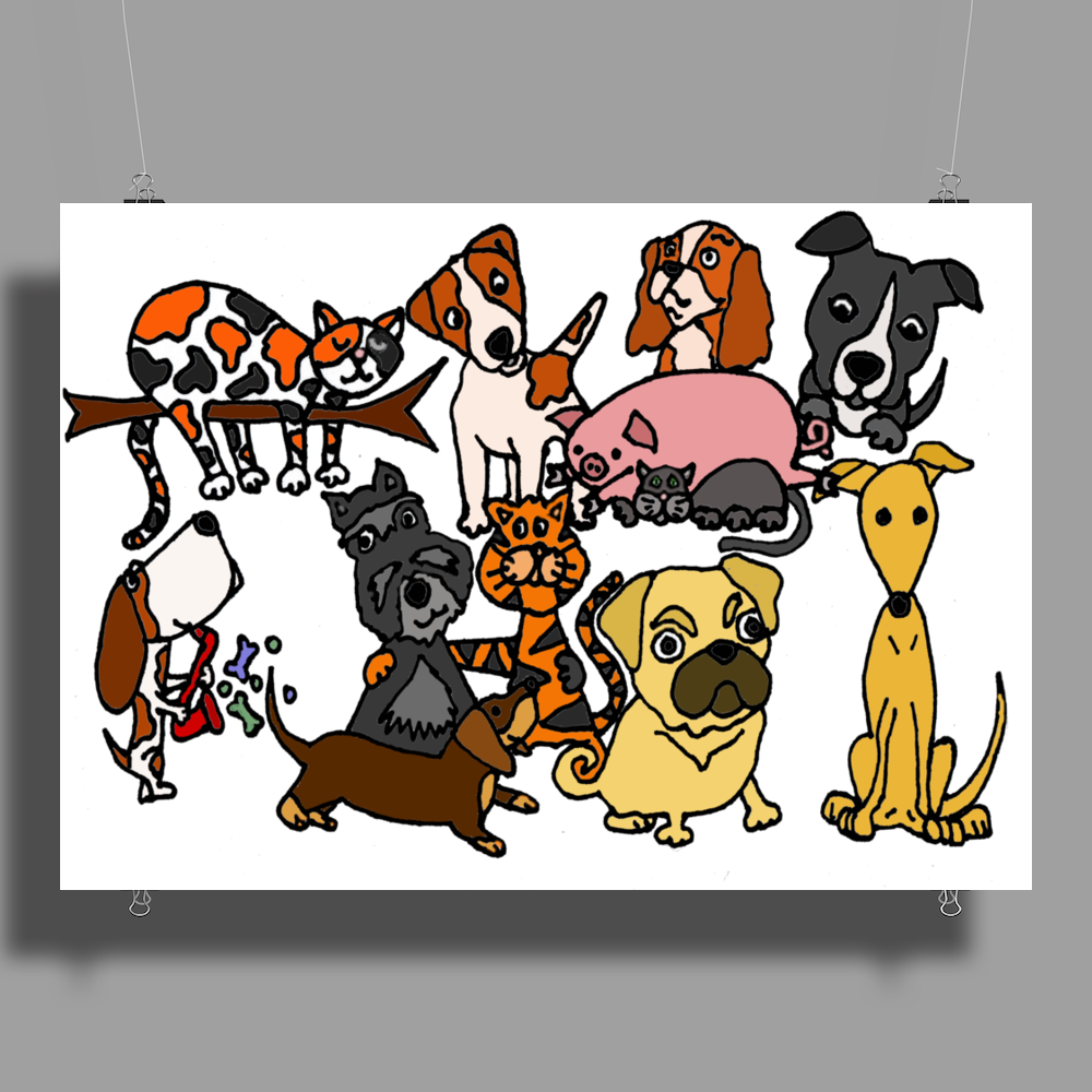 Awesome Funny Cute Assorted Pets Abstract Art Poster Print (Landscape)