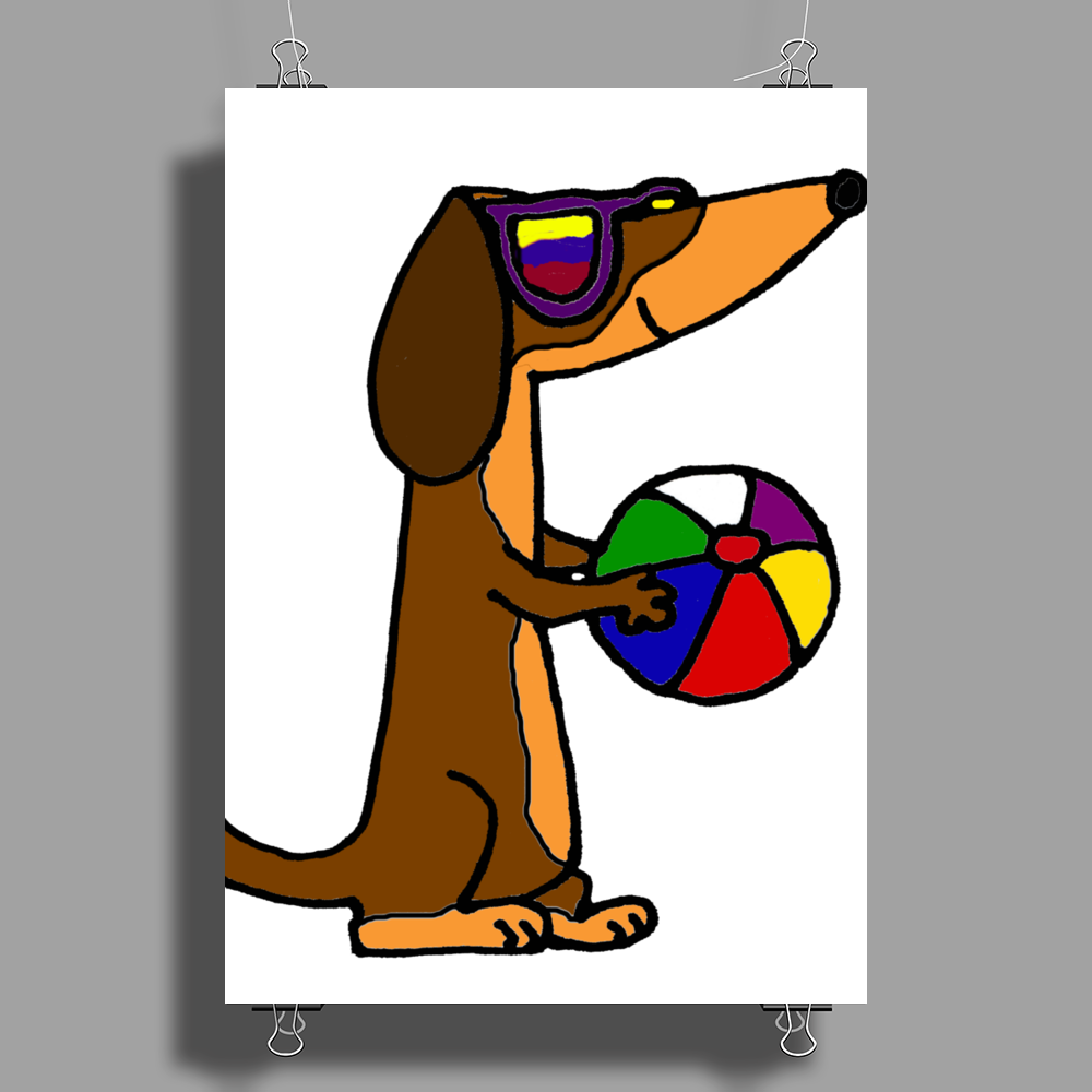 Awesome Funny Dachshund Dog at the Beach Poster Print (Portrait)