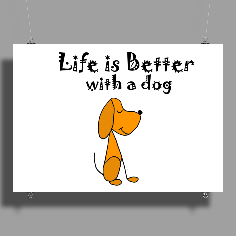 Awesome Funny Dog Love Cartoon Poster Print (Landscape)