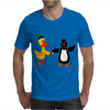 Awesome Funny Duck Holding Hands with Penguin Art Mens T-Shirt