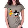 Awesome Funny Duck Holding Hands with Penguin Art Womens Fitted T-Shirt