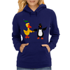 Awesome Funny Duck Holding Hands with Penguin Art Womens Hoodie