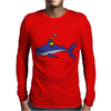 Awesome Funny Duck Riding Shark Mens Long Sleeve T-Shirt