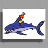 Awesome Funny Duck Riding Shark Poster Print (Landscape)