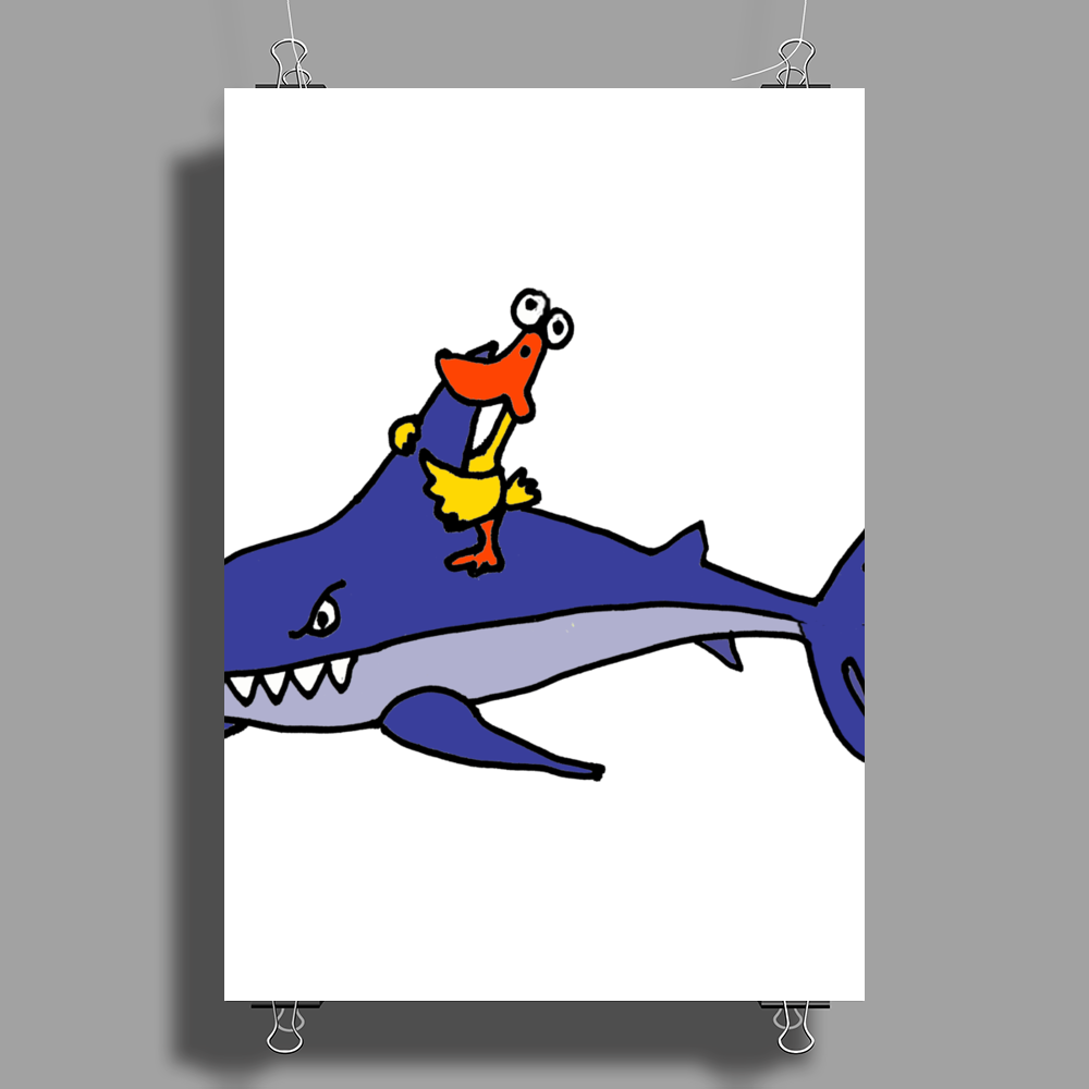 Awesome Funny Duck Riding Shark Poster Print (Portrait)