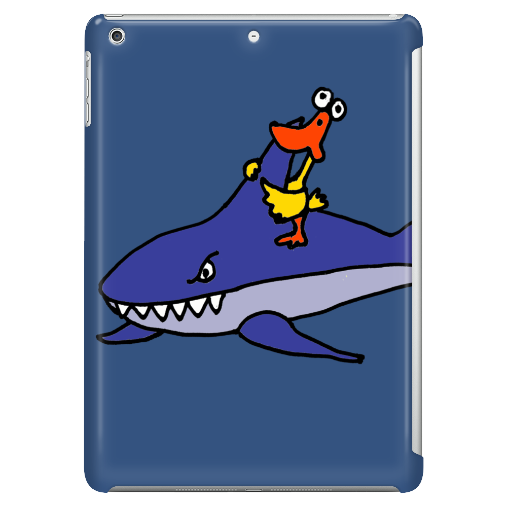 Awesome Funny Duck Riding Shark Tablet