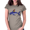 Awesome Funny Duck Riding Shark Womens Fitted T-Shirt