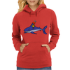 Awesome Funny Duck Riding Shark Womens Hoodie