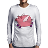 Awesome Funny Flying Pig with Purple High Top Sneakers Mens Long Sleeve T-Shirt