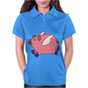 Awesome Funny Flying Pig with Purple High Top Sneakers Womens Polo