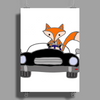Awesome Funny Foxy Red Fox driving Black Convertible Poster Print (Portrait)