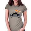 Awesome Funny Foxy Red Fox driving Black Convertible Womens Fitted T-Shirt