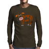 Awesome Funny Funky Brown and White Cow Art Mens Long Sleeve T-Shirt