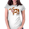 Awesome Funny Funky Brown and White Cow Art Womens Fitted T-Shirt