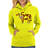 Awesome Funny Funky Brown and White Cow Art Womens Hoodie
