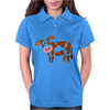 Awesome Funny Funky Brown and White Cow Art Womens Polo