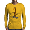Awesome Funny Giraffe on Hoverboard Art Mens Long Sleeve T-Shirt