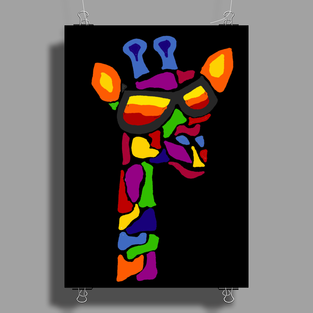 Awesome Funny Giraffe Wearing Sunglasses Abstract Art Poster Print (Portrait)