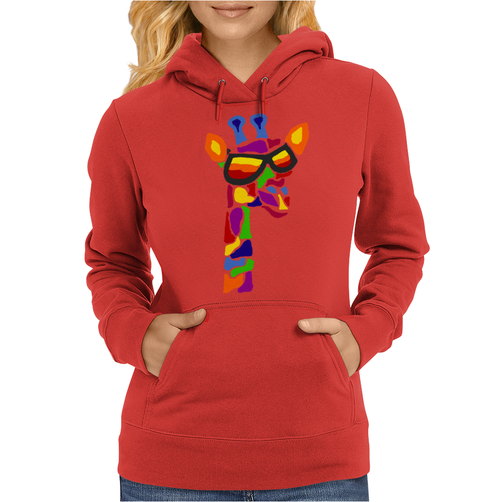 Awesome Funny Giraffe Wearing Sunglasses Abstract Art Womens Hoodie
