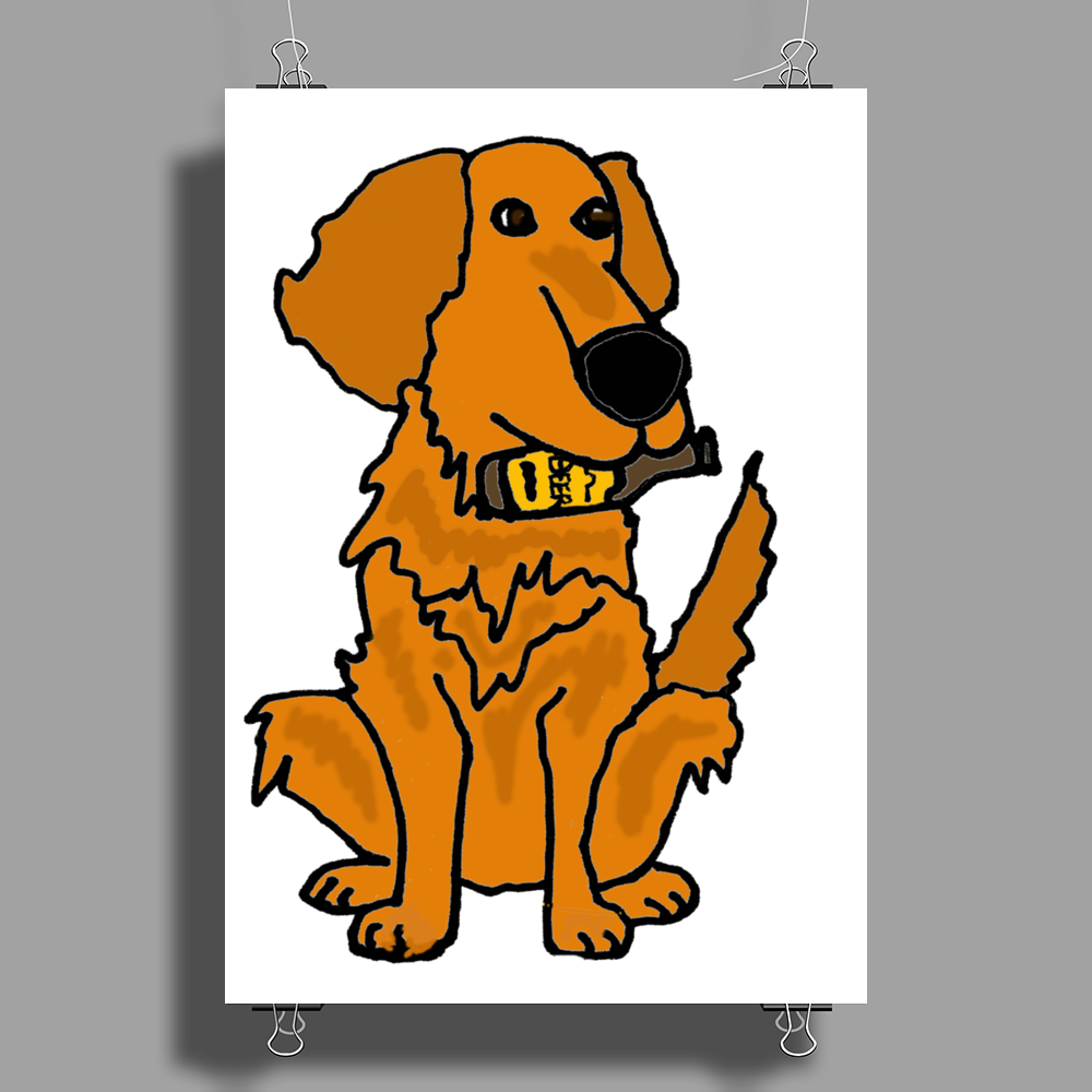 Awesome Funny Golden Retriever with Beer Bottle Poster Print (Portrait)
