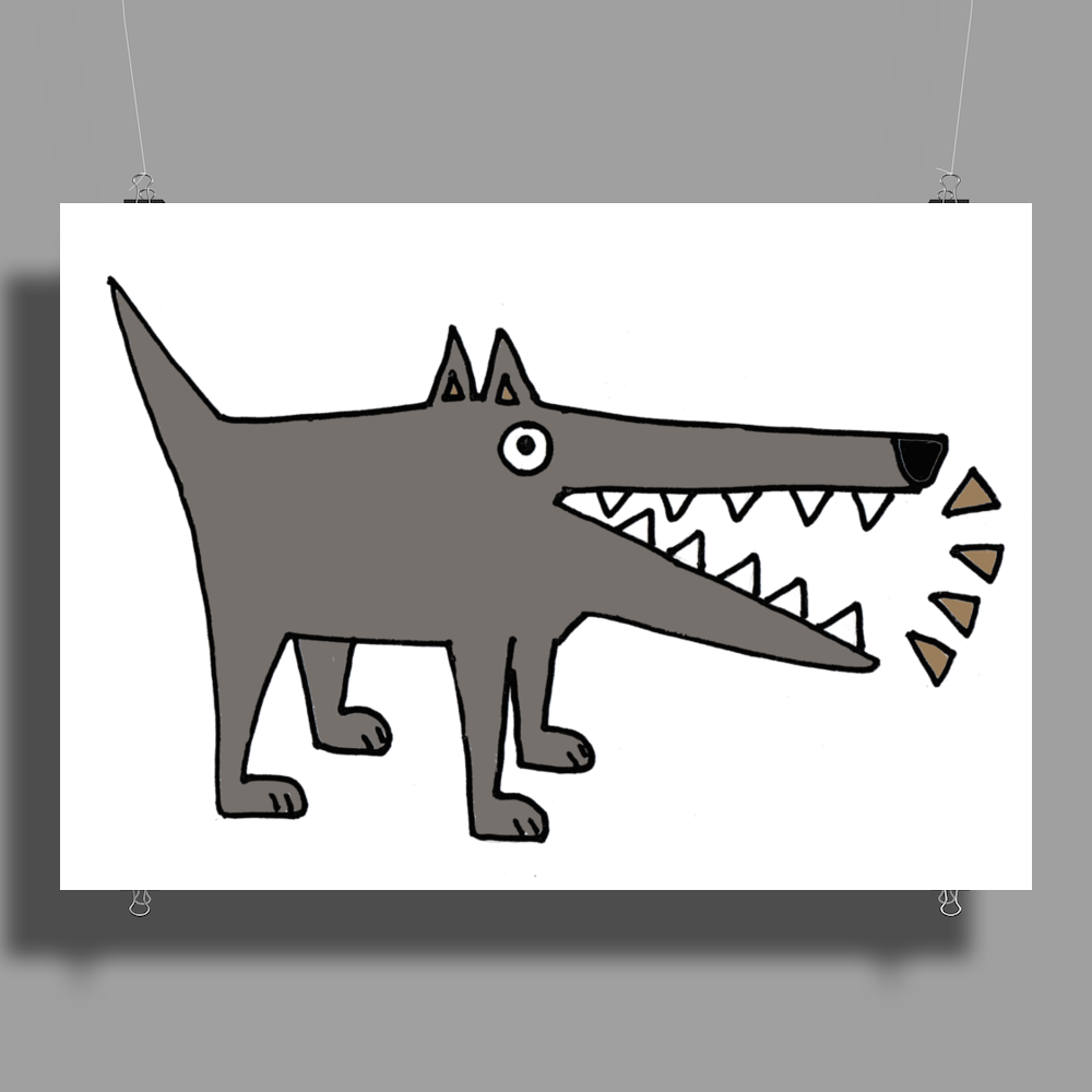 Awesome Funny Gray Barking Watchdog Cartoon Poster Print (Landscape)