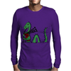 Awesome Funny Green Loch Ness Monster Playing the Bagpipes Mens Long Sleeve T-Shirt