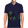 Awesome Funny Green Loch Ness Monster Playing the Bagpipes Mens Polo