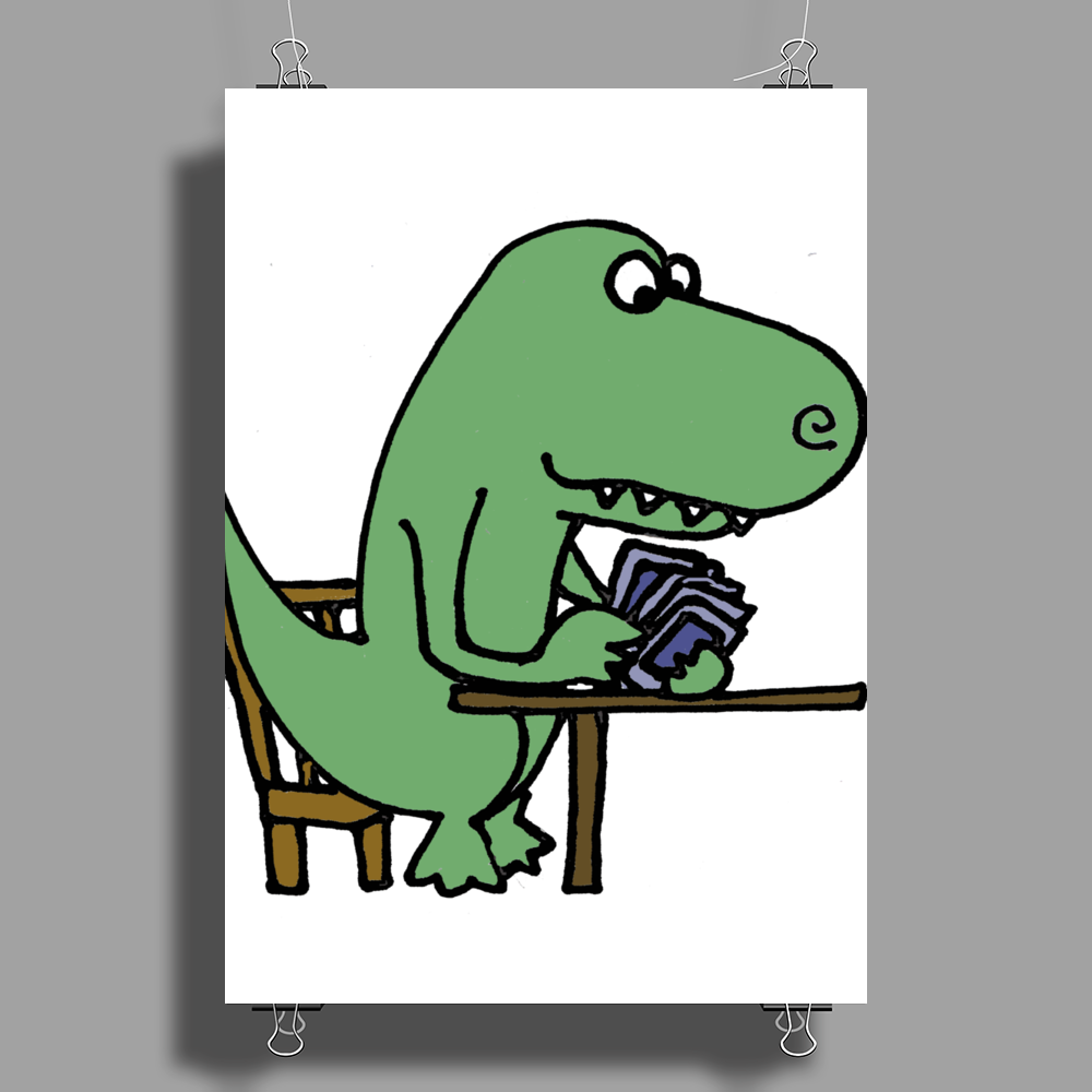 Awesome Funny Green T-rex Dinosaur Playing Cards Poster Print (Portrait)
