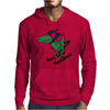 Awesome Funny Green T-Rex Dinosaur Sow Skiing Mens Hoodie