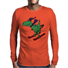 Awesome Funny Green T-Rex Dinosaur Sow Skiing Mens Long Sleeve T-Shirt