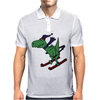 Awesome Funny Green T-Rex Dinosaur Sow Skiing Mens Polo