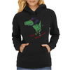 Awesome Funny Green T-Rex Dinosaur Sow Skiing Womens Hoodie
