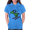 Awesome Funny Green T-Rex Dinosaur Sow Skiing Womens Polo