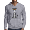 Awesome Funny Grey and White Greyhound Dog in Sunglasses Mens Hoodie