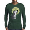 Awesome Funny Grey Wolf Howling at the Moon Art Mens Long Sleeve T-Shirt