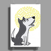 Awesome Funny Grey Wolf Howling at the Moon Art Poster Print (Portrait)