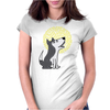 Awesome Funny Grey Wolf Howling at the Moon Art Womens Fitted T-Shirt