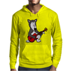 Awesome Funny Grey Wolf Playing Red Guitar Mens Hoodie