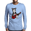 Awesome Funny Grey Wolf Playing Red Guitar Mens Long Sleeve T-Shirt
