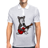 Awesome Funny Grey Wolf Playing Red Guitar Mens Polo