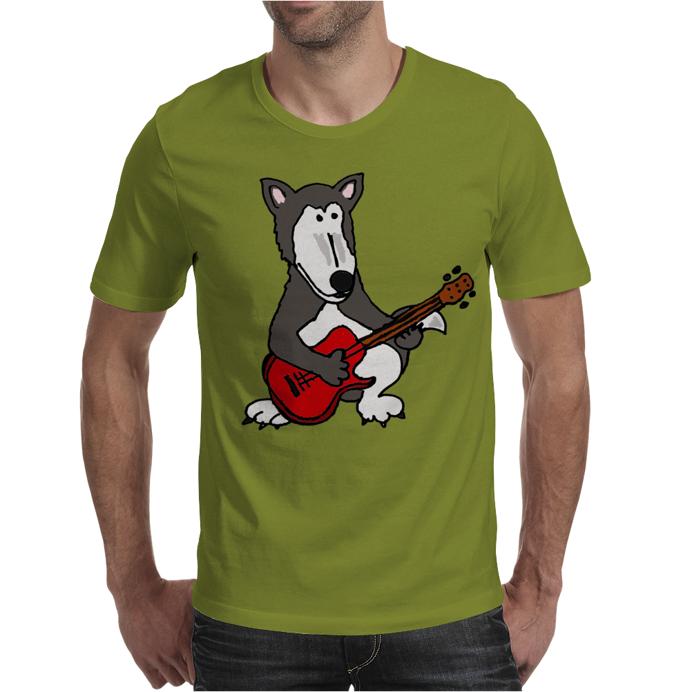 Awesome Funny Grey Wolf Playing Red Guitar Mens T-Shirt