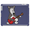 Awesome Funny Grey Wolf Playing Red Guitar Tablet